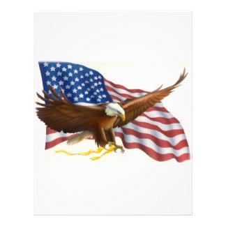 Soaring Eagle Flowing USA Flag Letterhead
