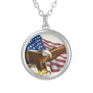 Soaring Eagle Flowing USA Flag Silver Plated Necklace
