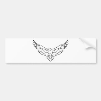 Soaring Eagle, flying - black and white Bumper Sticker