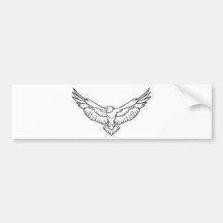 Soaring Eagle, flying - black and white Bumper Sticker
