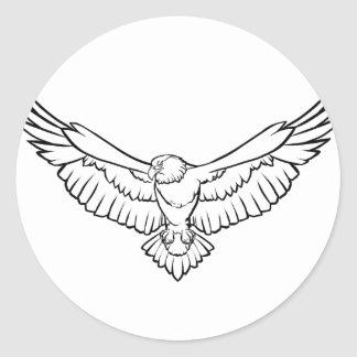 Soaring Eagle, flying - black and white Classic Round Sticker