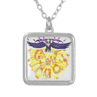 Soaring Eagle over Cindy's Sun Silver Plated Necklace