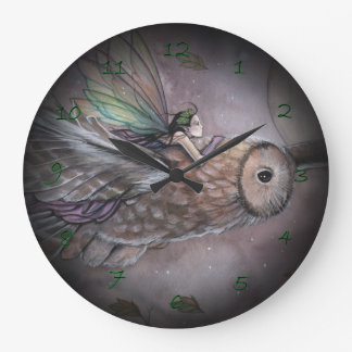 Soaring Fairy and Owl Fantasy Art Clock