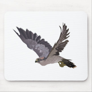 Soaring Falcon with Outstretched Wings Mouse Pads
