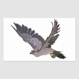 Soaring Falcon with Outstretched Wings Rectangular Sticker