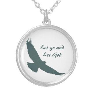 Soaring Hawk Inspiring Quote Let Go Let God Round Pendant Necklace