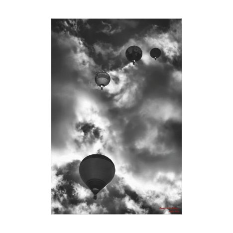 Soaring Hot Air Balloons, fine art black and white Canvas Print