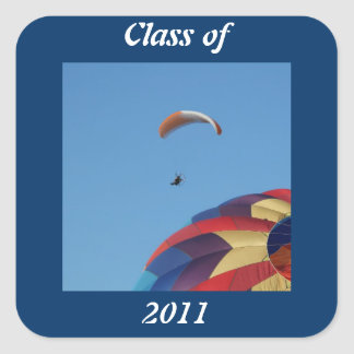 Soaring over the balloons! square sticker