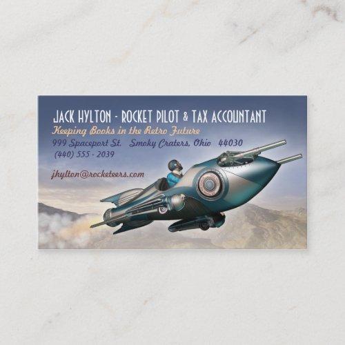 Soaring Retro Rocket Business Cards