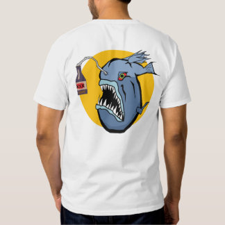 Sober124 logo with dangerous angler on the back tee shirt