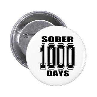 SOBER 1000 DAYS BLACK 2 INCH ROUND BUTTON