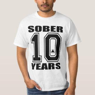 Sober 10 Years Black on White , AA LOGO  ORIGIN... T-Shirt