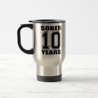 Sober 10 Years Black on White Coffee Mugs