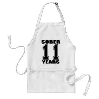 Sober 11 Years Black on White Adult Apron