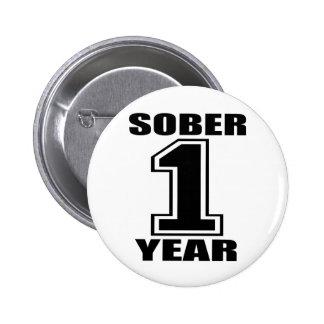 Sober 1 Year Black on White 2 Inch Round Button