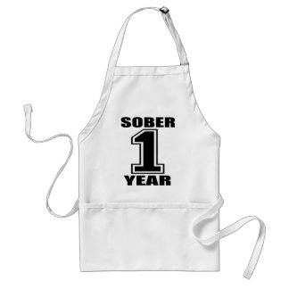 Sober 1 Year Black on White Adult Apron