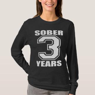 Sober 3 Years White on Dark T-Shirt