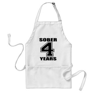 Sober 4 Years Black on White Adult Apron