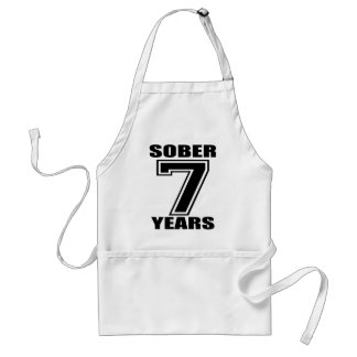 Sober 7 Years Black on White Adult Apron