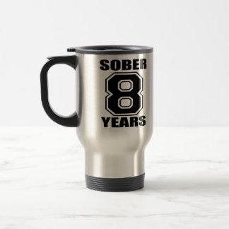 Sober 8 Years Black on White  travel mug... Travel Mug