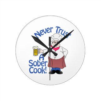 Sober Cook Round Clock