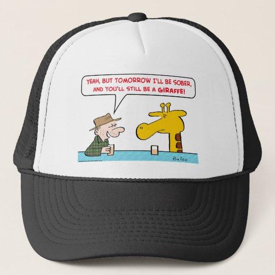 sober giraffe trucker hat