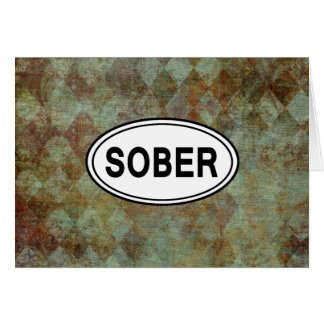 SOBER OVAL Sobriety Recovery AA Card