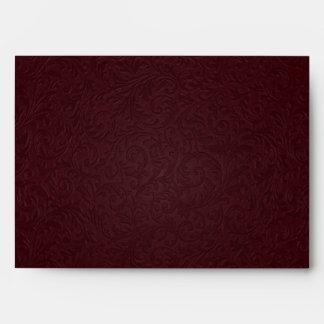 Sobre afiligranado de Borgoña - tarjeta de felicit
