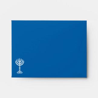 Sobre azul A2 de la invitación del adorno de Hanuk