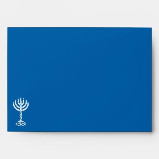 Sobre azul A7 de la invitación del adorno de Hanuk