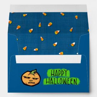 Sobre azul de la tarjeta A7 de Halloween del palo