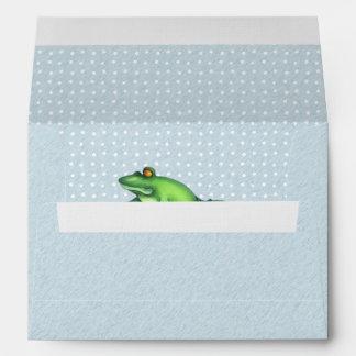 Sobre azul de la tarjeta A7 del amor del Froggy