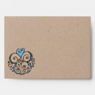 Sobre azul de la tarjeta de Kraft A7 del adorno de