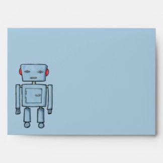 Sobre azul de la tarjeta del robot del juguete