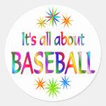 Sobre béisbol pegatina redonda