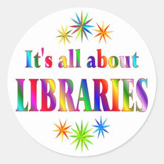 Sobre bibliotecas pegatinas redondas