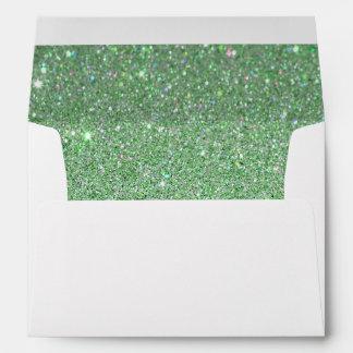 Sobre blanco brillo verde alineado