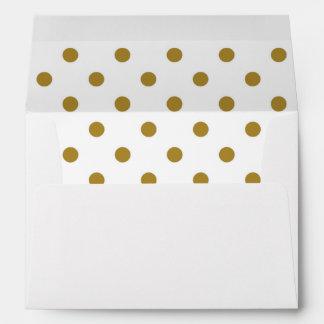 Sobre blanco, oro Polkadot alineado