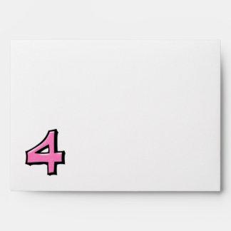 Sobre blanco rosado de la tarjeta del número 4 ton