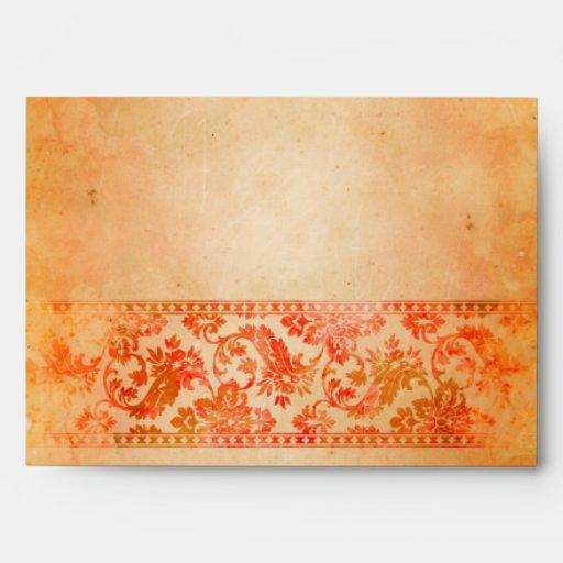 Sobre colorido del boda del cordón del damasco del