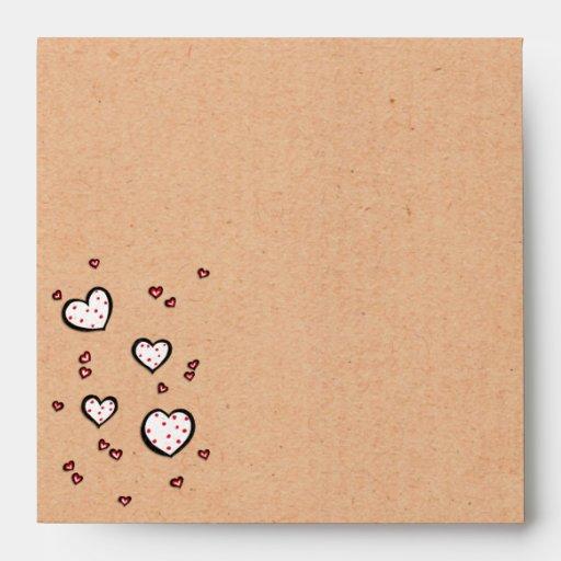 Sobre cuadrado de Kraft de los corazones manchados