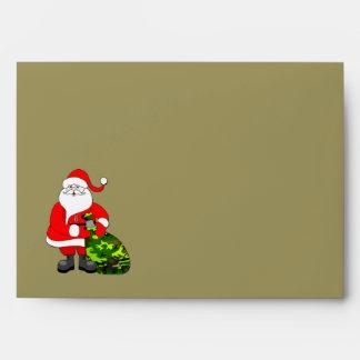 Sobre de color caqui militar del navidad de Santa