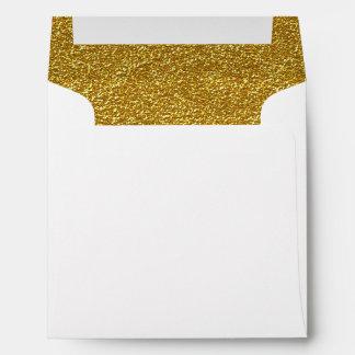 Sobre de encargo alineado brillo del boda del oro