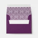 Sobre de encargo del damasco púrpura con la direcc