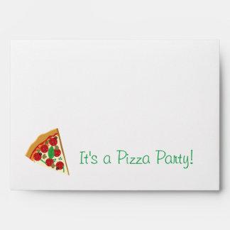 Sobre de la invitación del fiesta de la pizza