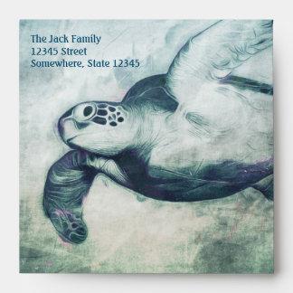 Sobre de la tarjeta de felicitación de la tortuga
