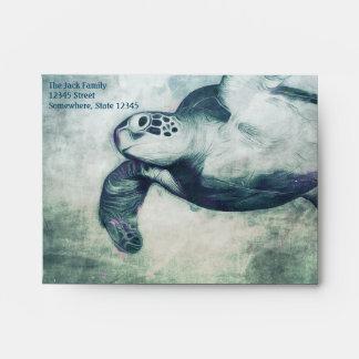 Sobre de la tarjeta de nota A2 de la tortuga de