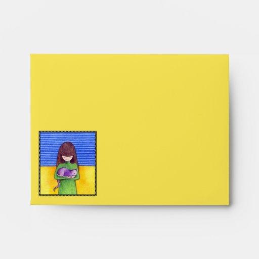 Sobre de la tarjeta de nota azul del amarillo de l