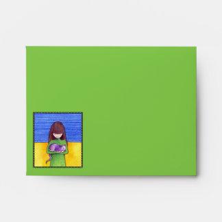 Sobre de la tarjeta de nota del amarillo del verde