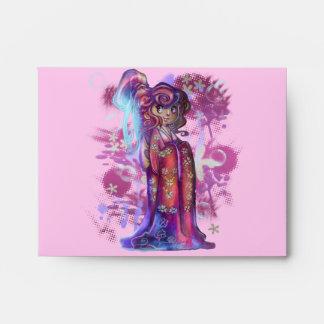Sobre de la tarjeta de nota del geisha A2 del tréb